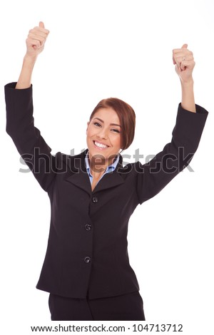 Happy business woman holding her both thumbs up for a big win, on white background