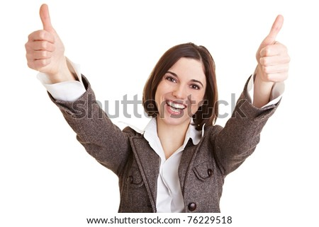 Happy business woman holds both thumbs up - stock photo