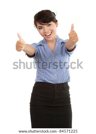 happy business woman showing her thumbs up celebrating success - stock photo