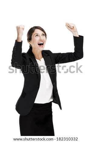 Happy business woman with arms on the air, isolated over a white background