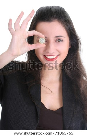 Happy business woman with euro cent over white - stock photo