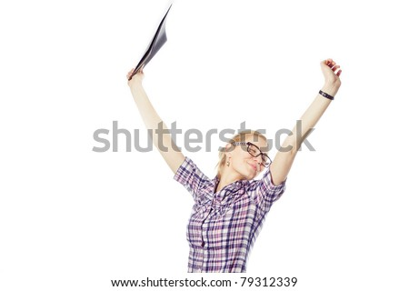 Happy  business woman with folder - stock photo