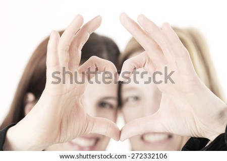 happy business woman with heart shape teamwork - stock photo