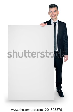 Happy businessman and empty board