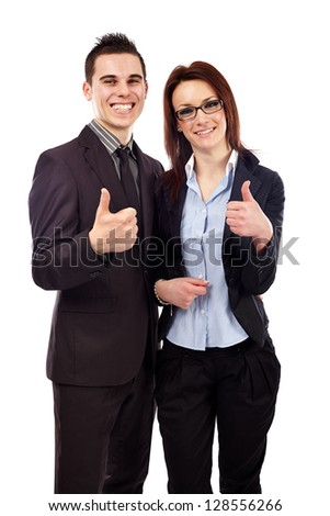 Happy businessman and woman isolated on white background. Thumbs up. Teamwork concept