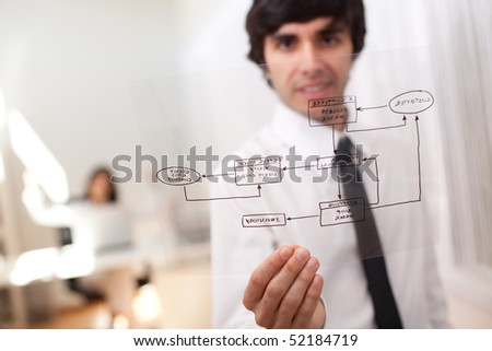 Happy businessman at his office showing a online order schema (selective focus with shallow DOF). - stock photo