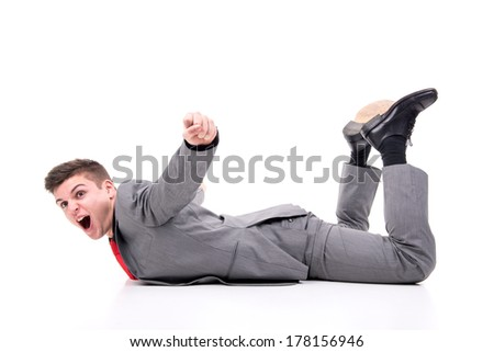 Happy businessman celebrating a goal isolated in white - stock photo