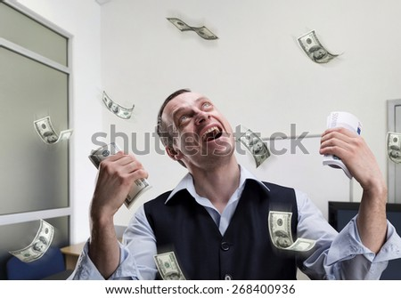 Happy businessman dreams about money - stock photo