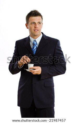 Happy businessman drinking coffee, smiling, isolated on white. - stock photo