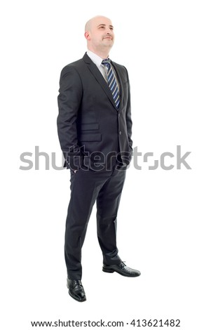 Happy businessman full length isolated on white