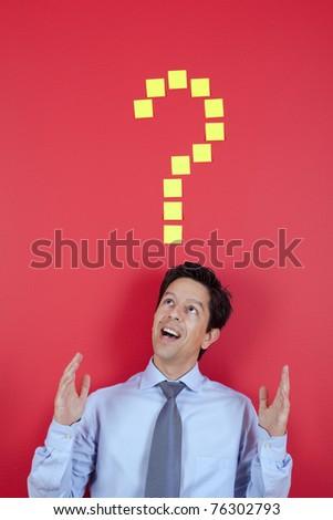 Happy businessman having a great idea - stock photo