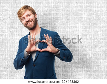 happy businessman heart symbol - stock photo