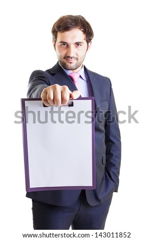 Happy businessman holding a clipboard and  the other hand in his pocket, isolated on white. - stock photo