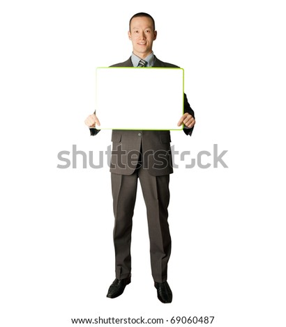 happy businessman holding blank white card in his hands - stock photo
