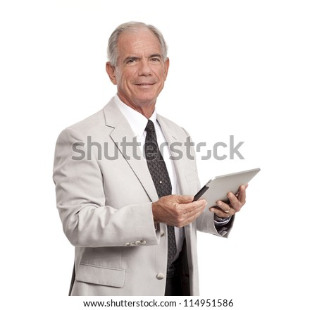 Happy Businessman holds a tablet - stock photo