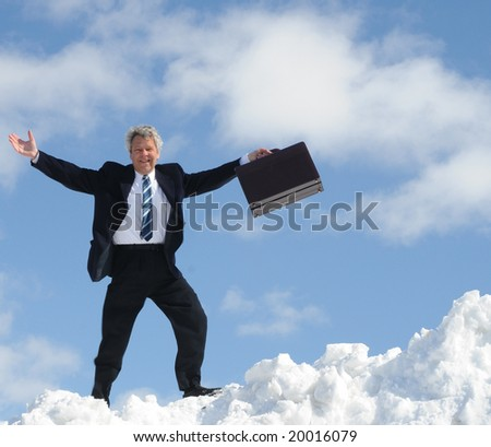 Happy Businessman In Clouds - stock photo