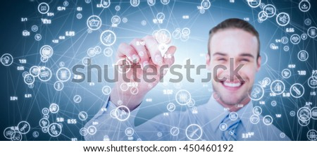 Happy businessman in shirt writing with marker against grey vignette