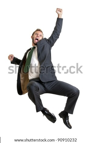Happy businessman jumping isolated in white - stock photo