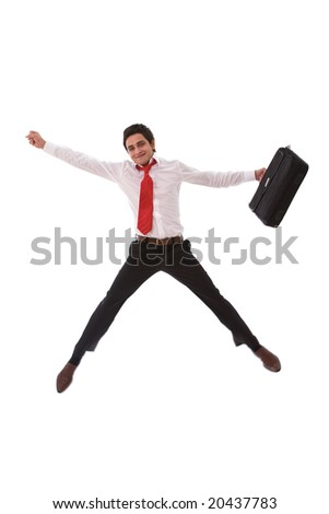 happy businessman jumping very high on white - stock photo