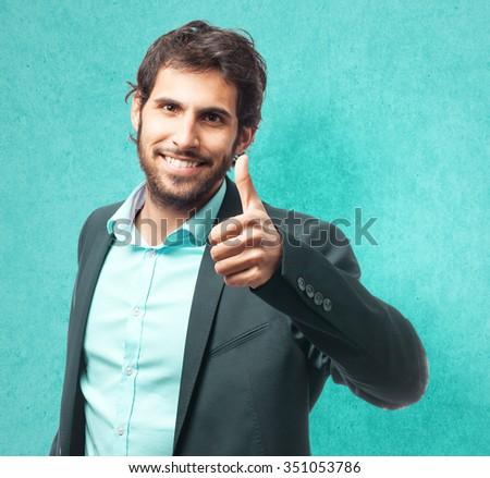 happy businessman okay sign - stock photo