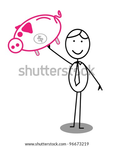 Happy Businessman Piggy bank  -  Vector Version Is Also Available
