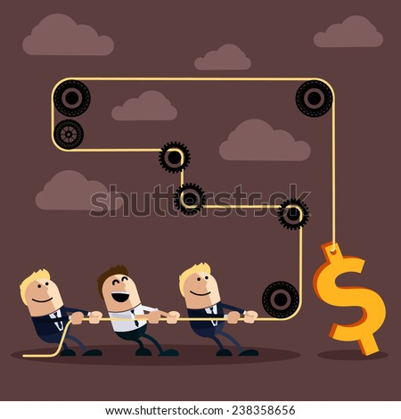 Happy businessman pulling rope with dollar through several intermediaries gears cartoon flat design style. Raster version - stock photo