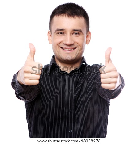 Happy businessman showing OK sign over white background - stock photo