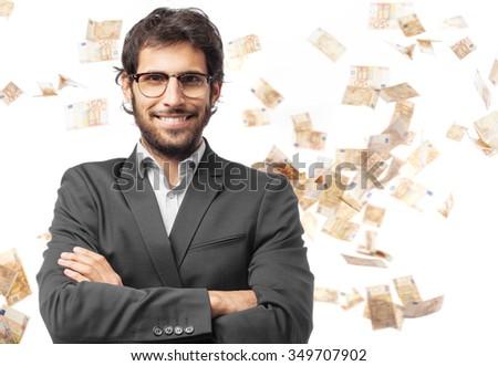 happy businessman smiling - stock photo