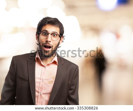 happy businessman surprised pose