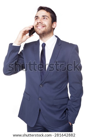 Happy businessman talking on the cell phone, isolated on white background - stock photo
