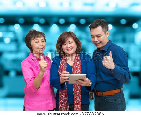 Happy Businessman Teamwork on Office building blurred photo background, business concept - stock photo