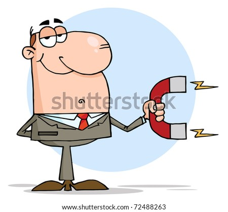 Happy Businessman Using A Magnet - stock photo