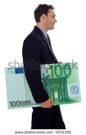 Happy businessman walking with a big hundred euro