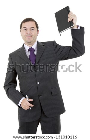 happy businessman with a book in white background