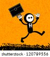 Happy businessman with briefcase (jumping) - stock photo