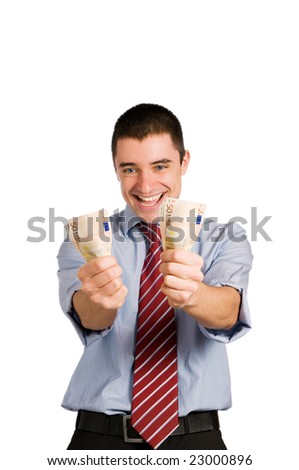 Happy businessman with bundles of fifty euro money isolated on white background - stock photo