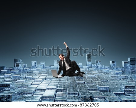 happy businessman with laptop - stock photo