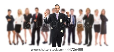 happy businessman with lots of US dollars and his team - stock photo