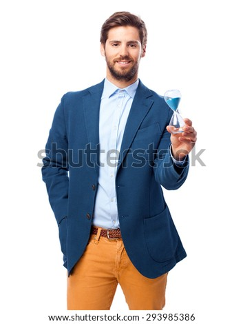 happy businessman with sand timer