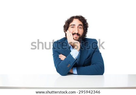 happy businessman with sit table