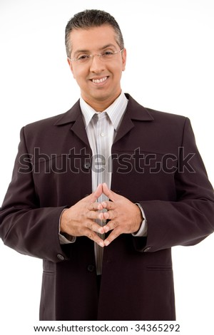 Happy businessman with smile on his face - stock photo