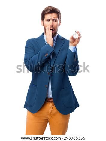 happy businessman with stopwatch - stock photo