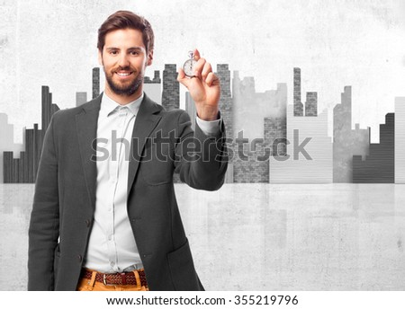 happy businessman with stopwatch - stock photo