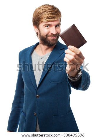 happy businessman with wallet - stock photo