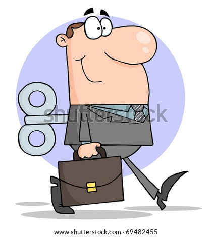 Happy Businessman With Wind-up Key In His Back - stock photo