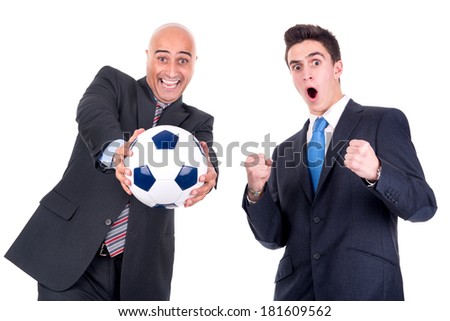 Happy businessmen with a soccer ball isolated in white - stock photo