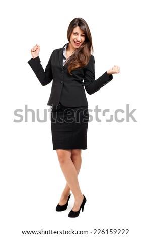 Happy businesswoman - stock photo
