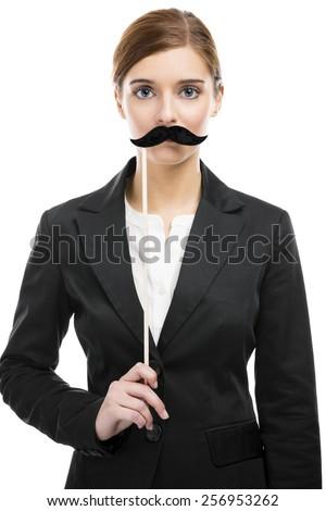 Happy businesswoman celebrating her birthday - stock photo