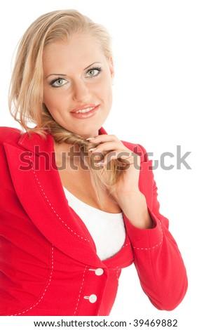 Happy businesswoman, isolated on white - stock photo