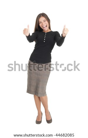 Happy businesswoman isolated on white giving thumbs up. Mixed race chinese / caucasian model. - stock photo